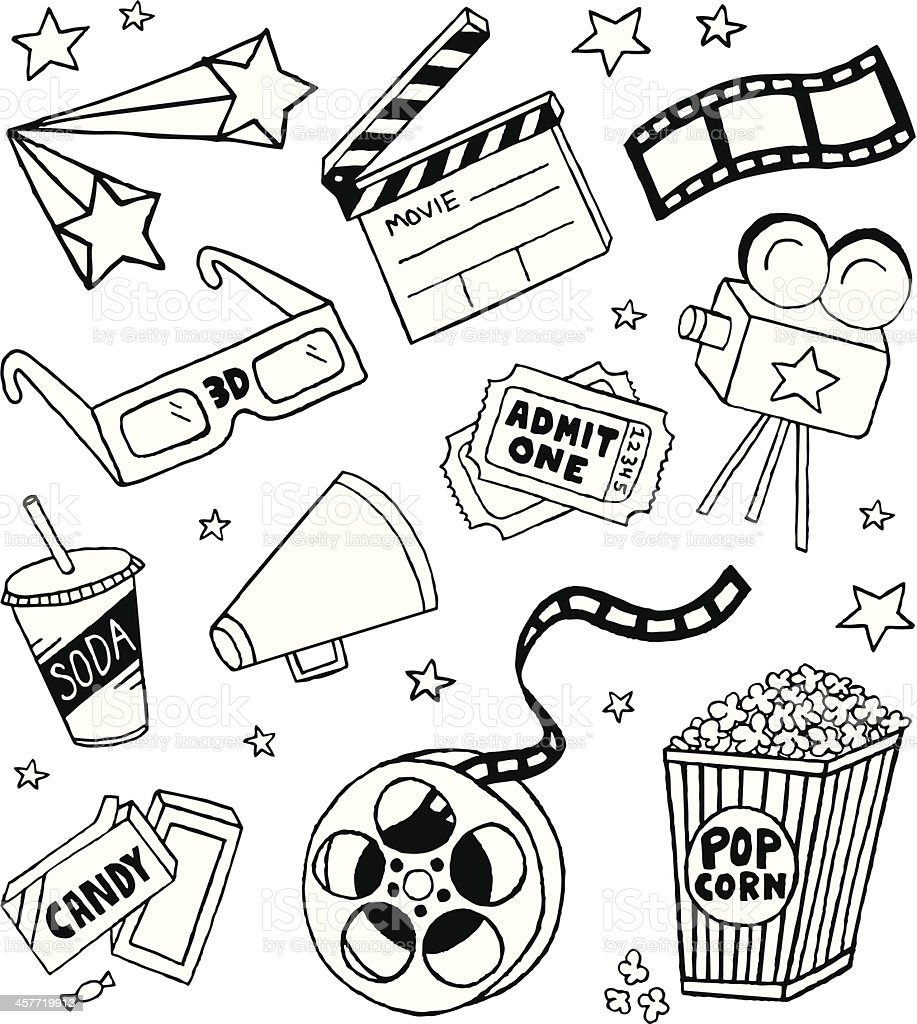 Movie Doodles vector art illustration