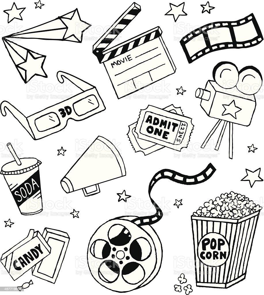 Movie Doodles vector art illustration