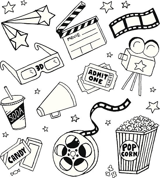 Movie Doodles A movie-themed doodle page. candy drawings stock illustrations