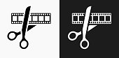 Movie Edit Icon on Black and White Vector Backgrounds. This vector illustration includes two variations of the icon one in black on a light background on the left and another version in white on a dark background positioned on the right. The vector icon is simple yet elegant and can be used in a variety of ways including website or mobile application icon. This royalty free image is 100% vector based and all design elements can be scaled to any size.