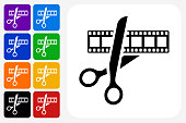 Movie Edit Icon Square Button Set. The icon is in black on a white square with rounded corners. The are eight alternative button options on the left in purple, blue, navy, green, orange, yellow, black and red colors. The icon is in white against these vibrant backgrounds. The illustration is flat and will work well both online and in print.