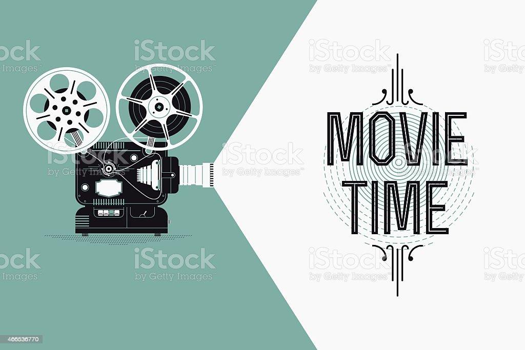 Movie entertainment simple concept design with retro film projector vector art illustration