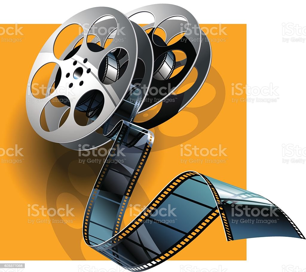 Movie film and film canisters . vector art illustration