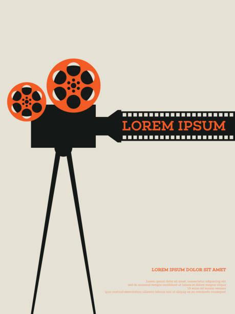 movie film reel and filmstrip vintage poster vector illustration - film stock-grafiken, -clipart, -cartoons und -symbole