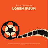 Movie film reel strip vintage poster vector illustration