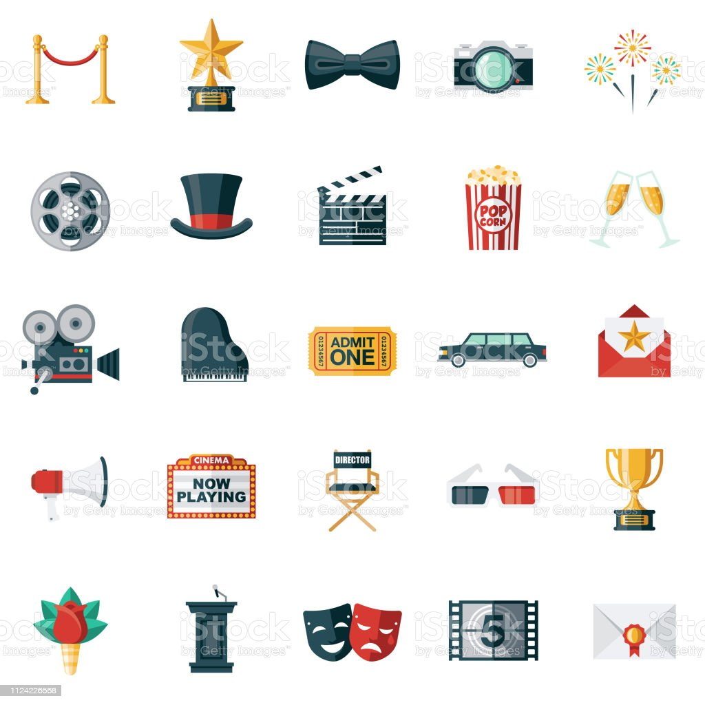 Movie Flat Design Icon Set A set of icons. File is built in the CMYK color space for optimal printing. Color swatches are global so it's easy to edit and change the colors. 3-D Glasses stock vector