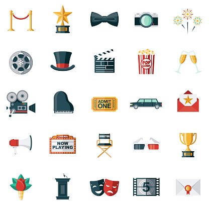 Ilustración de Conjunto De Iconos De Diseño Plano De Película y más Vectores Libres de Derechos de Admit One - Frase corta