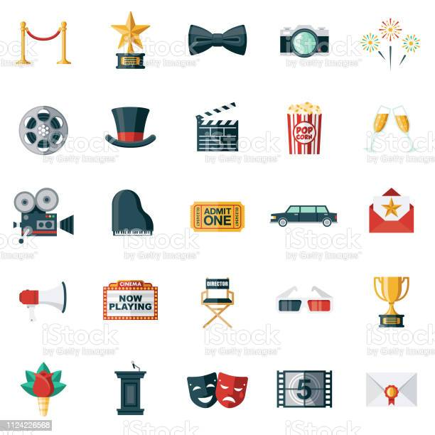 Movie Flat Design Icon Set Stock Illustration - Download Image Now