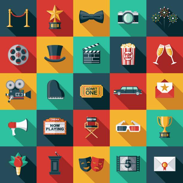영화 플랫 디자인 아이콘 세트 - 긴 그림자 그림자 stock illustrations
