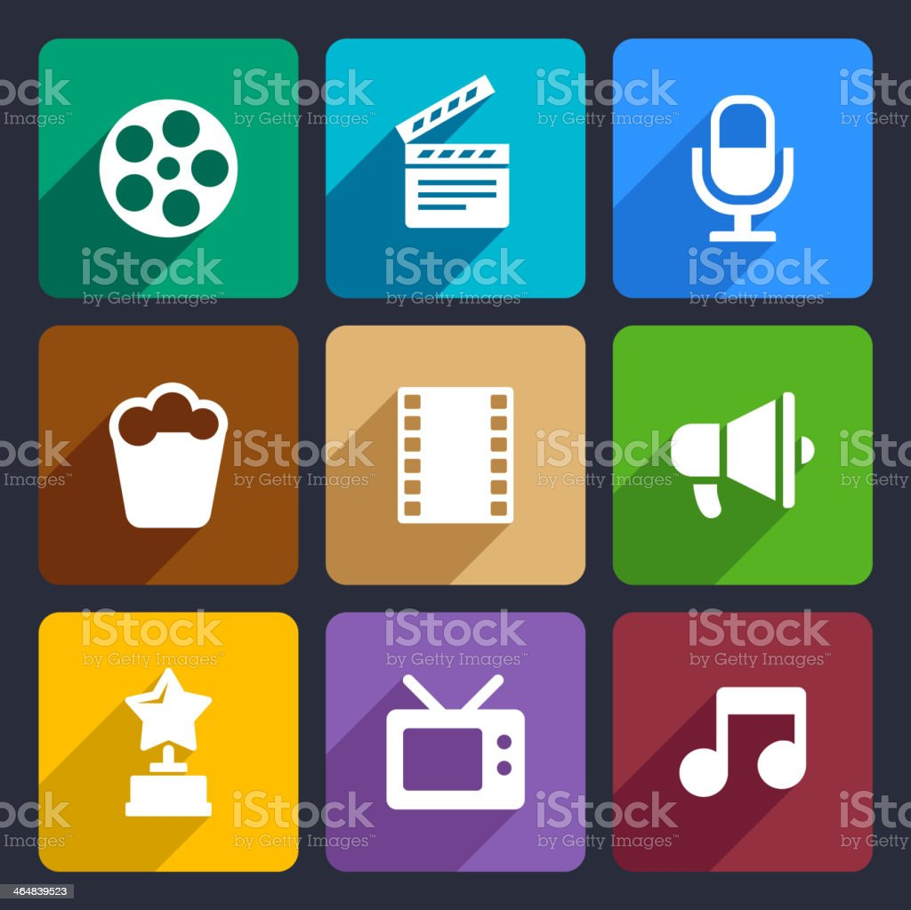 Movie Flat Icons Set 37 vector art illustration