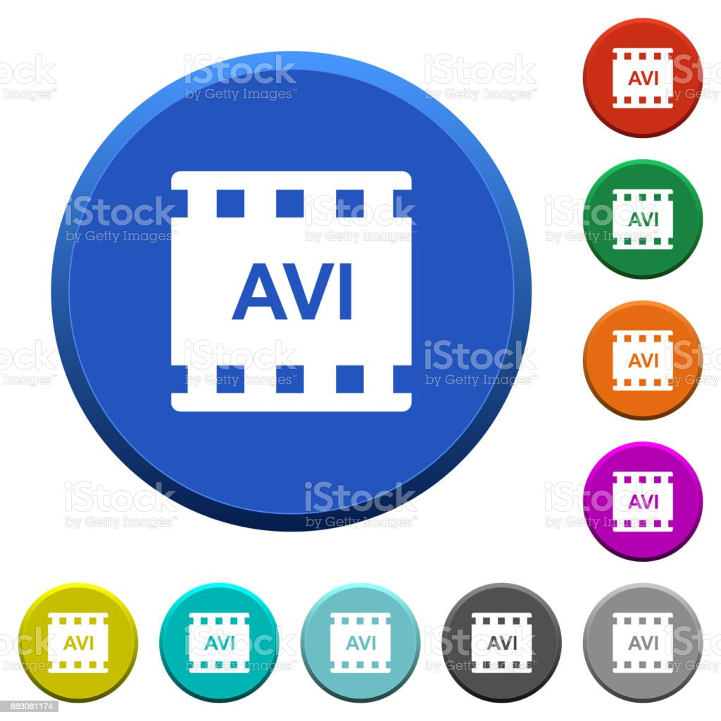 AVI movie format beveled buttons vector art illustration