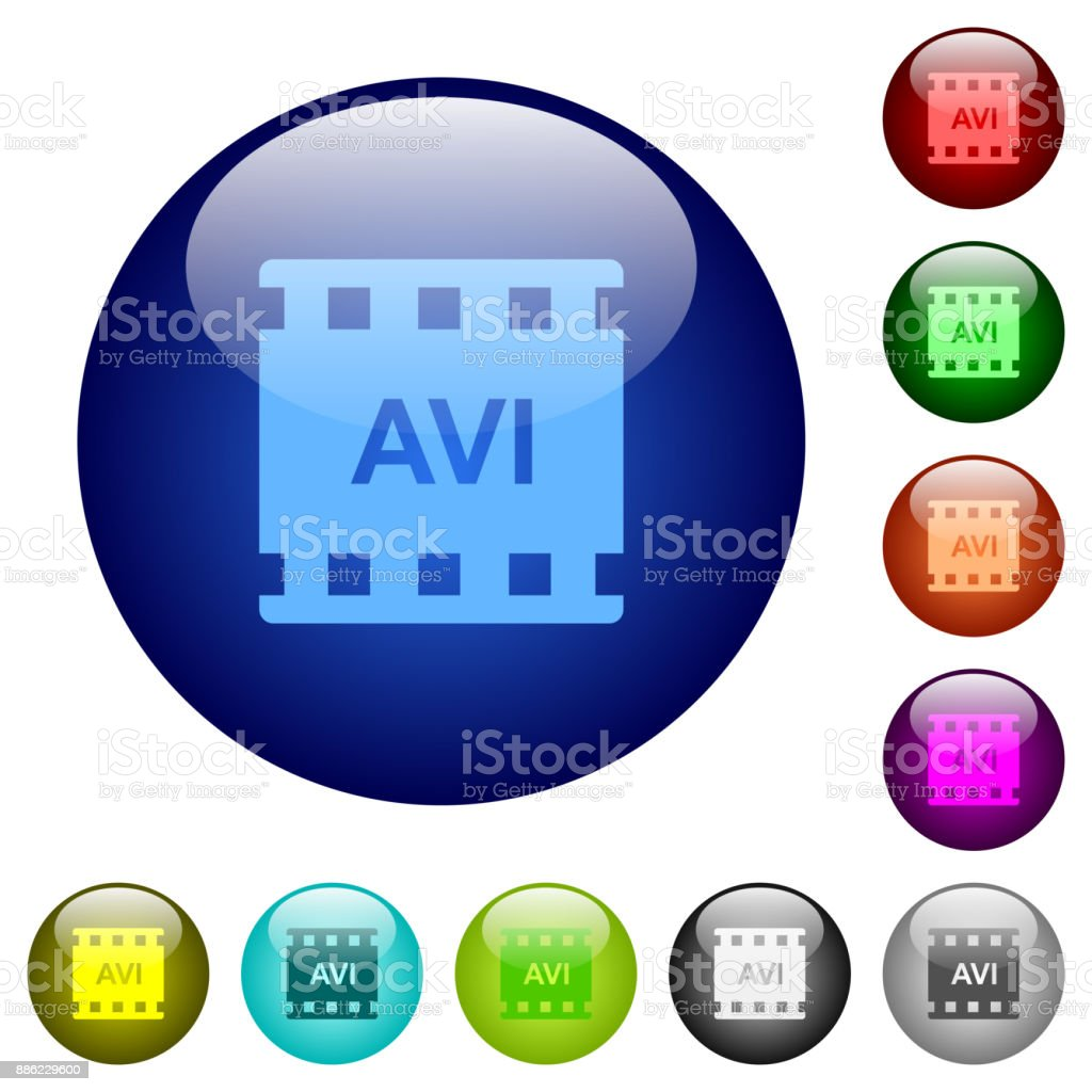 AVI movie format color glass buttons vector art illustration