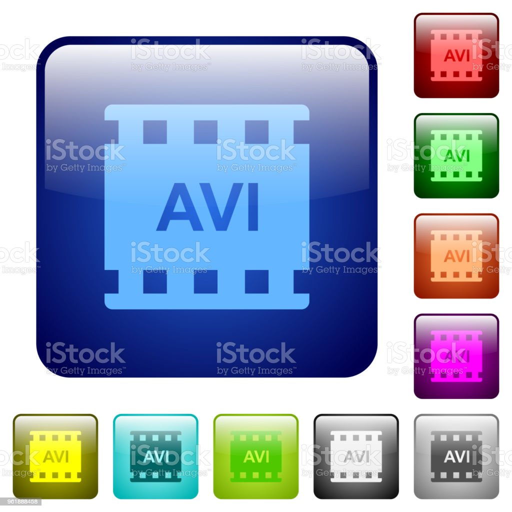 AVI movie format color square buttons vector art illustration