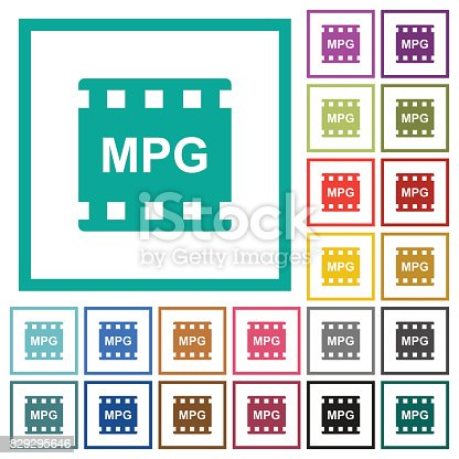 istock MPG movie format flat color icons with quadrant frames 829295646