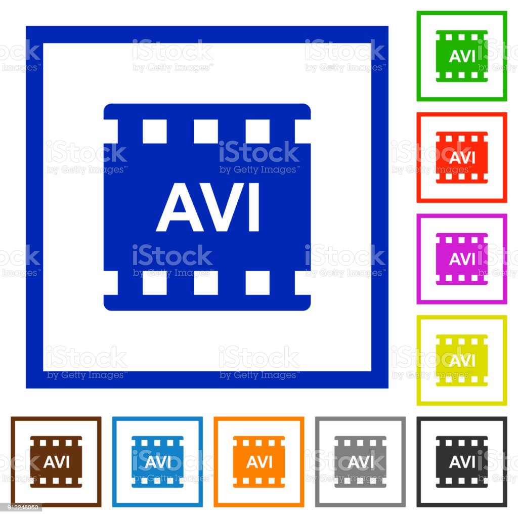 AVI movie format flat framed icons vector art illustration