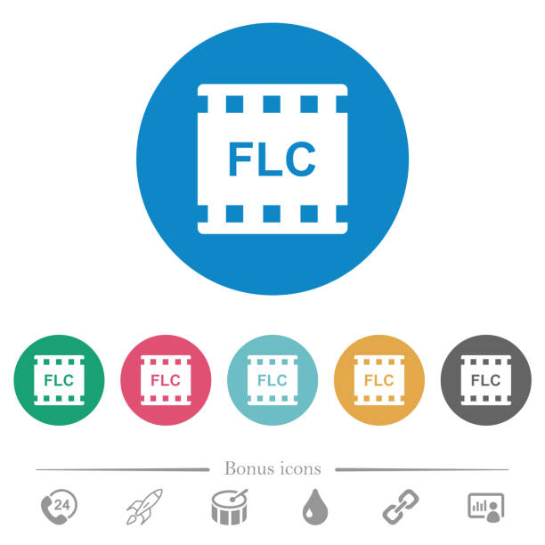 flc movie format flat round icons - video call stock illustrations