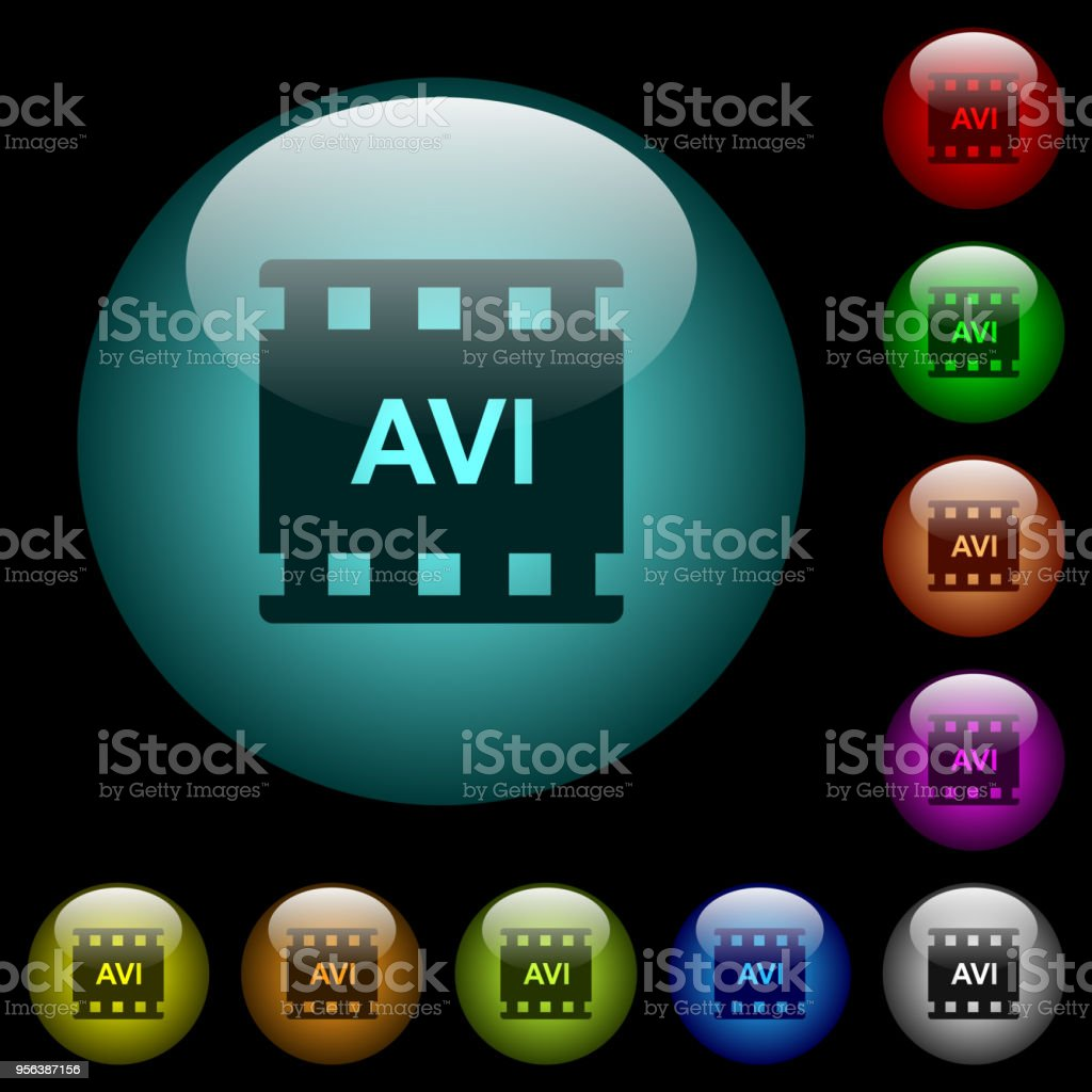 AVI movie format icons in color illuminated glass buttons vector art illustration