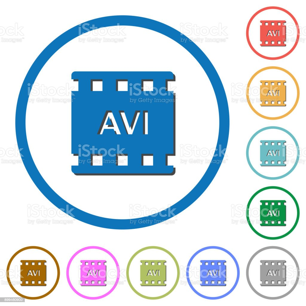 AVI movie format icons with shadows and outlines vector art illustration
