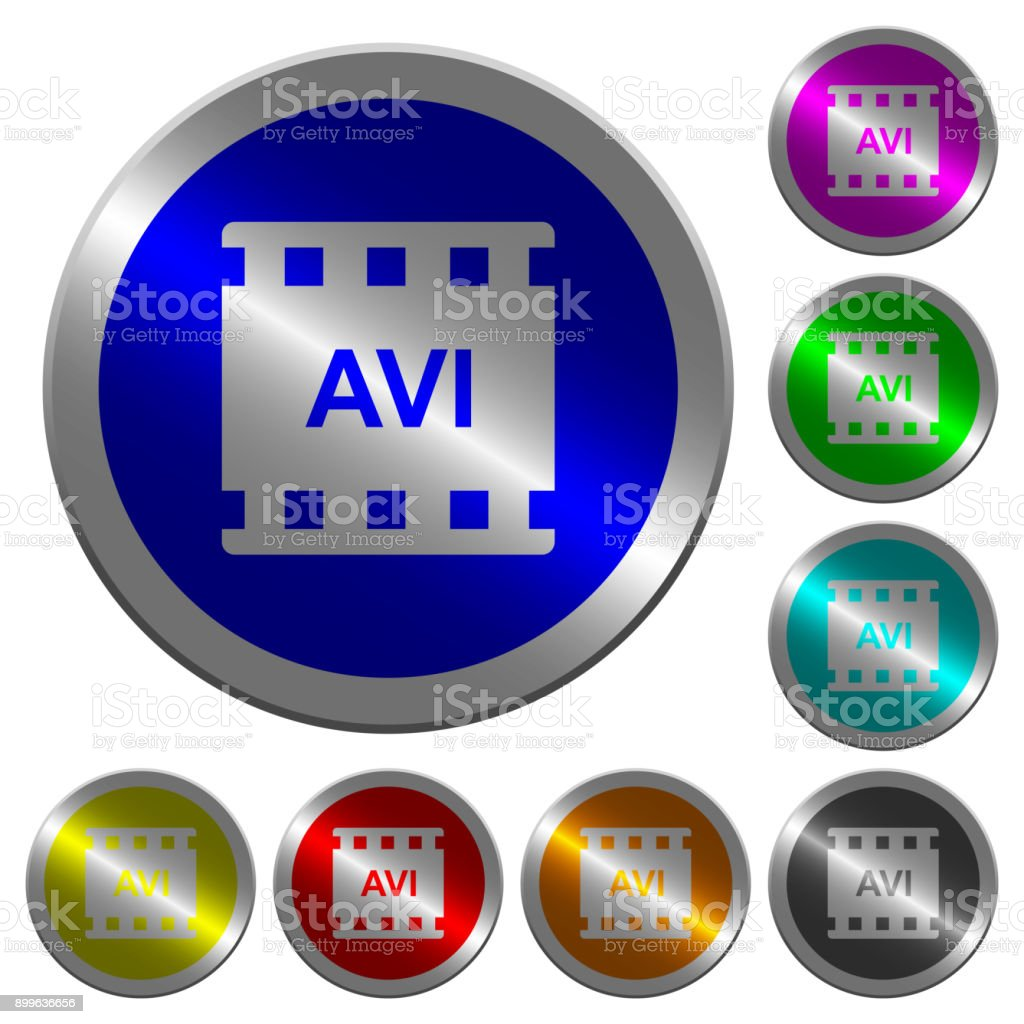 AVI movie format luminous coin-like round color buttons vector art illustration