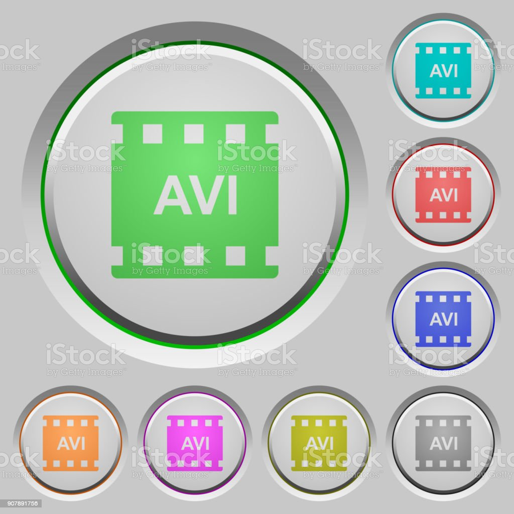 AVI movie format push buttons vector art illustration