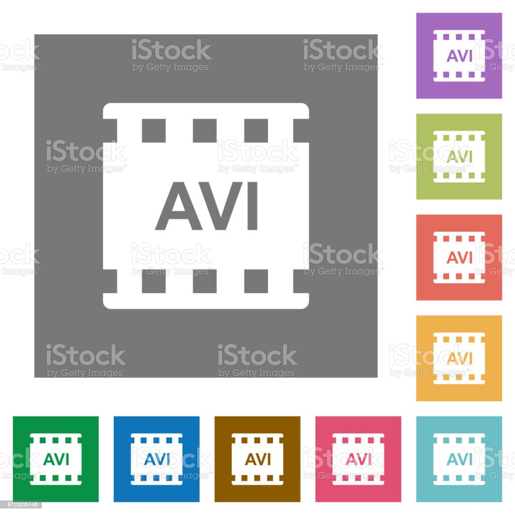 AVI movie format square flat icons vector art illustration