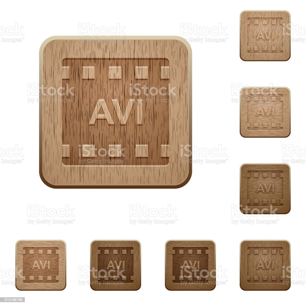 AVI movie format wooden buttons vector art illustration
