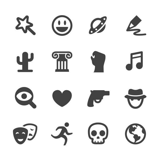 illustrazioni stock, clip art, cartoni animati e icone di tendenza di movie genres icons - acme series - thriller