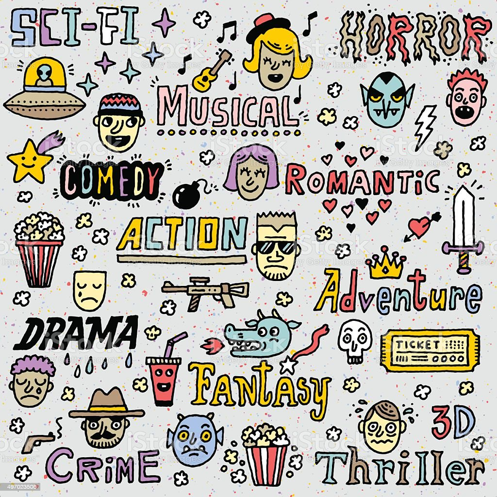 Genres: Movie Genres Tv Shows Series Funny Doodle Vector Color Set