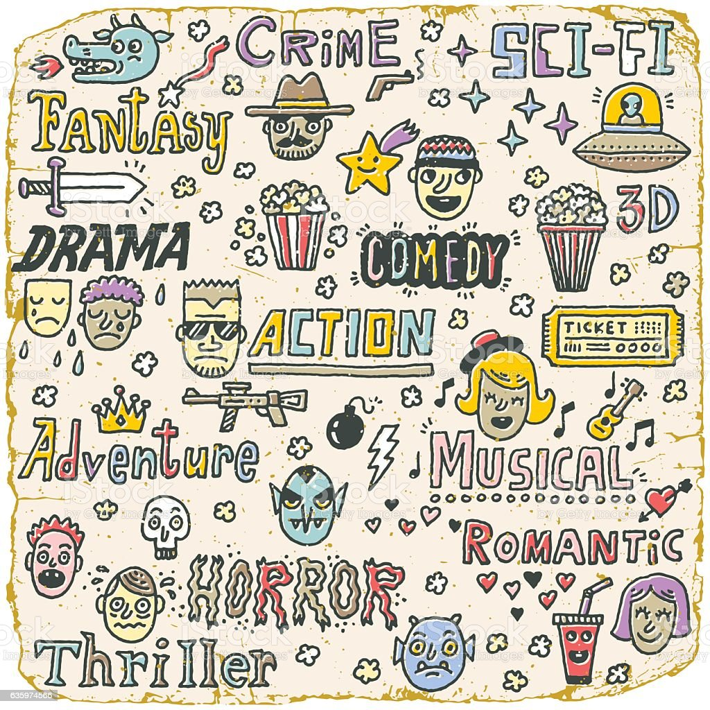Movie Genres. TV Shows, Series Funny Doodle Vector set. vector art illustration