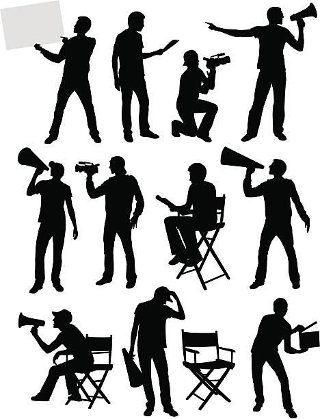 stockillustraties, clipart, cartoons en iconen met movie guys - acteur