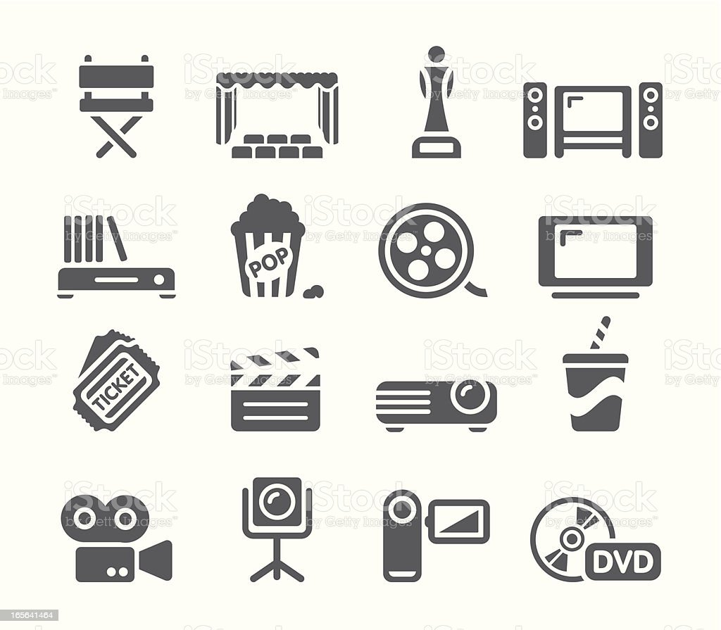 Movie Icon Set vector art illustration