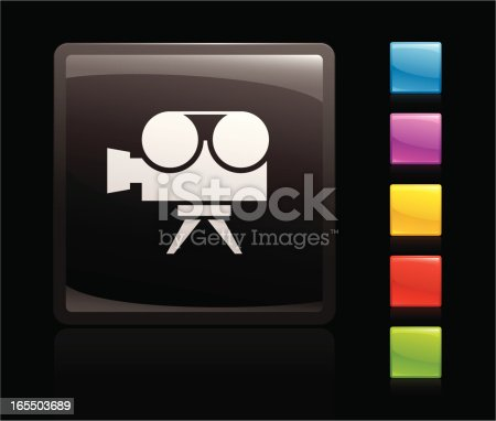 glowing movie icon, 5 other blank colour buttons included
