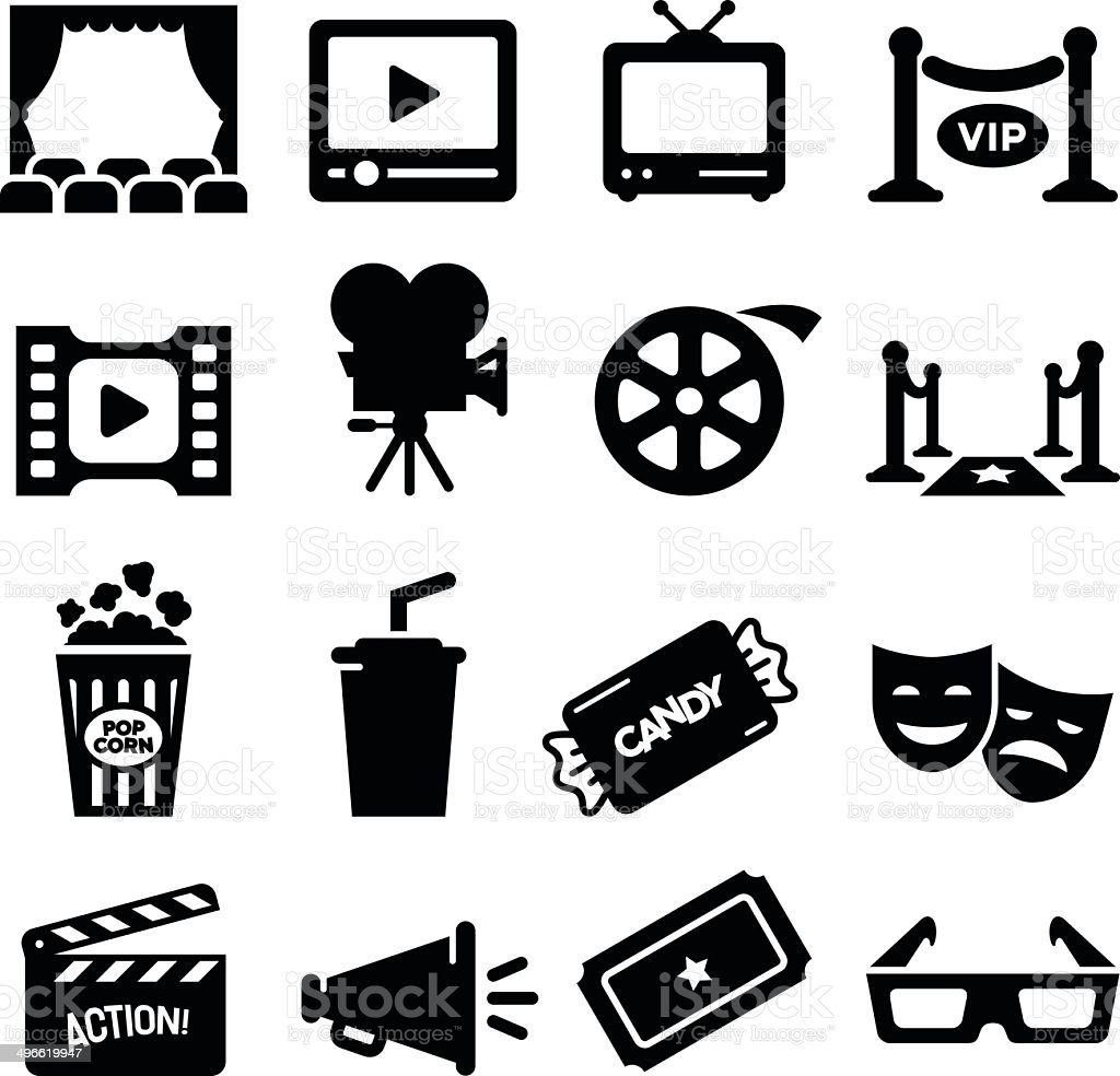 Movie Icons - Black Series vector art illustration