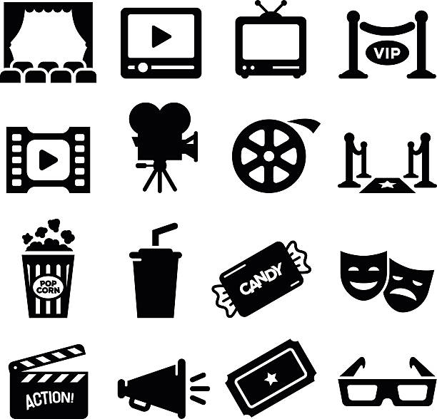 movie icons - black series - part of a series stock illustrations, clip art, cartoons, & icons