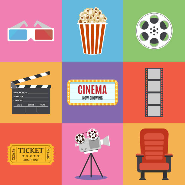 illustrazioni stock, clip art, cartoni animati e icone di tendenza di movie icons. flat style - cinema