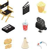 Isometric movie icons.