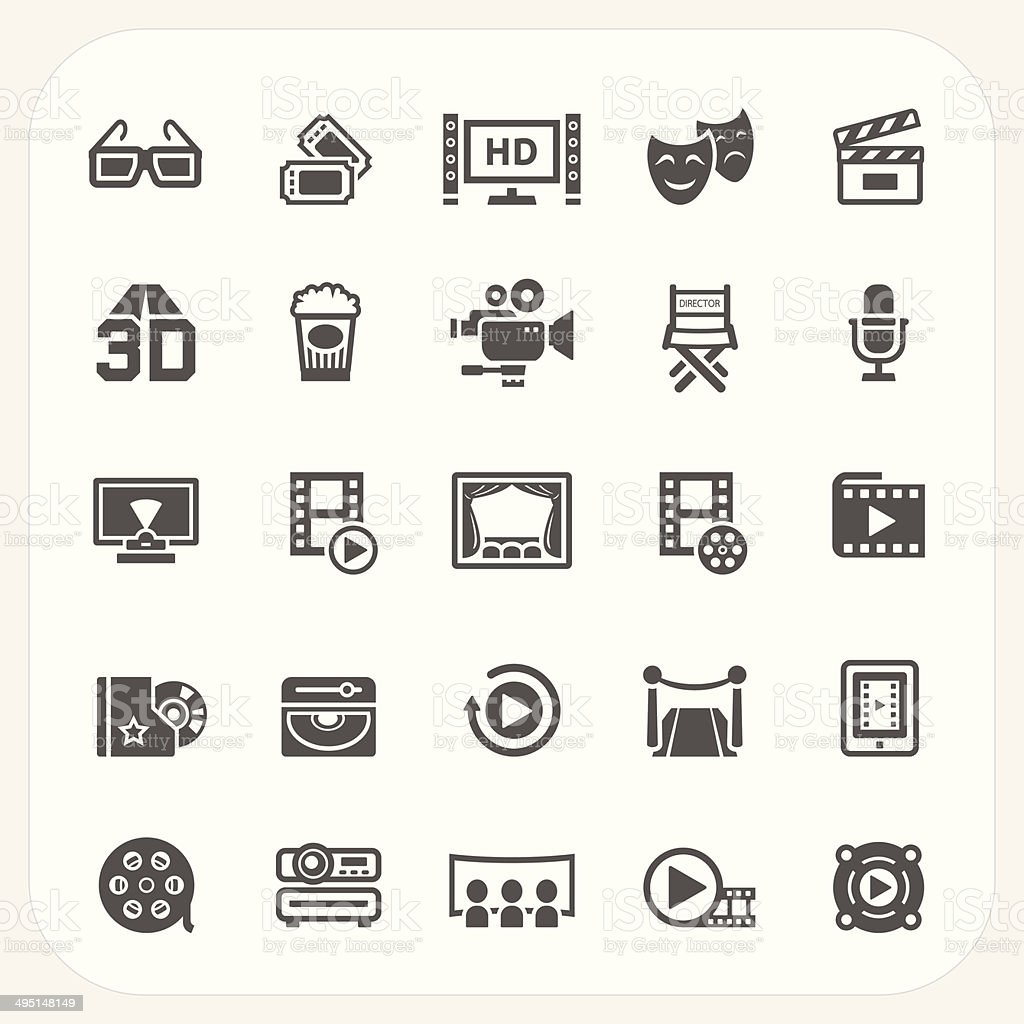 Movie icons set vector art illustration