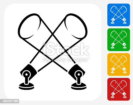 Movie Lights Icon. This 100% royalty free vector illustration features the main icon pictured in black inside a white square. The alternative color options in blue, green, yellow and red are on the right of the icon and are arranged in a vertical column.
