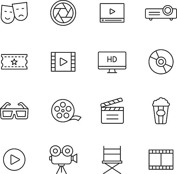 ilustrações de stock, clip art, desenhos animados e ícones de ícones de filme - video