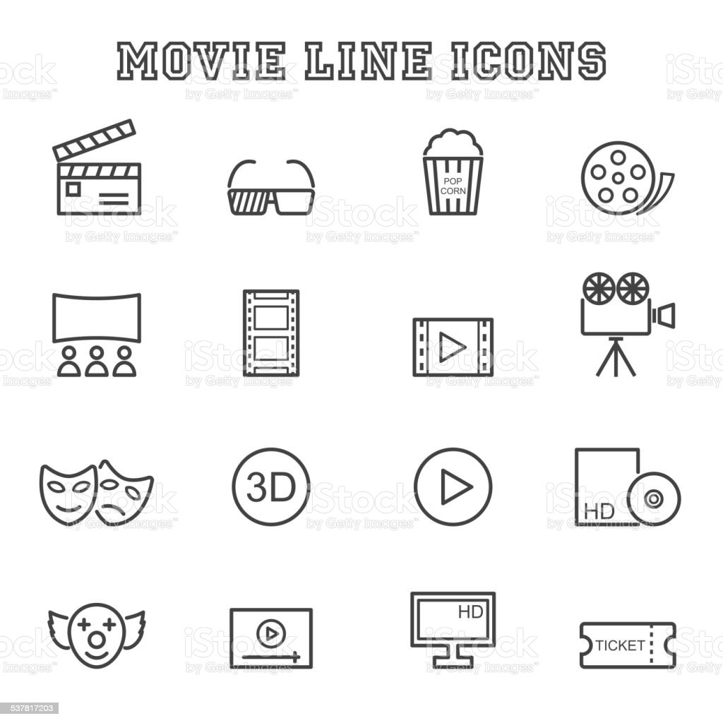 movie line icons vector art illustration