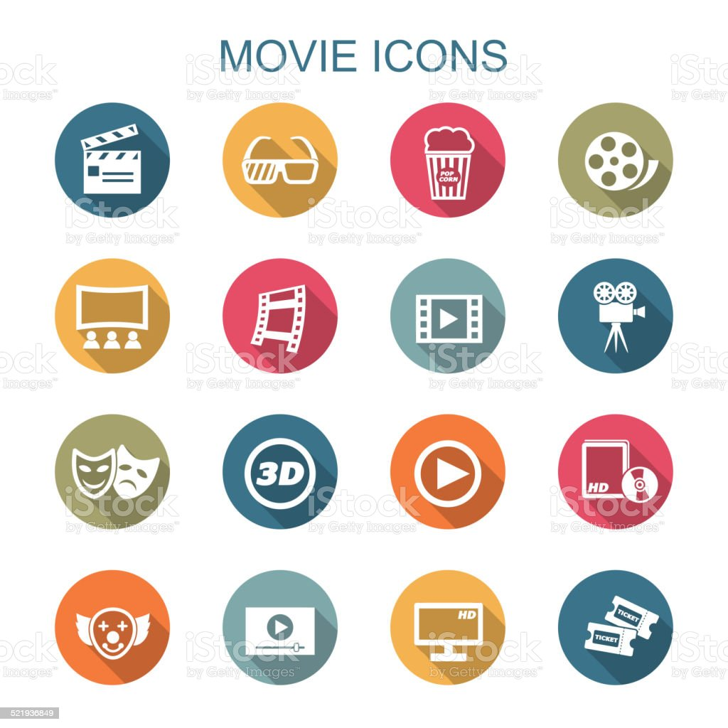 movie long shadow icons vector art illustration