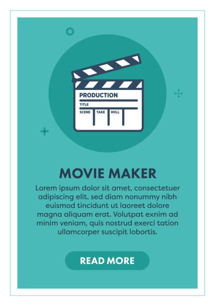 illustrations, cliparts, dessins animés et icônes de movie maker web banner illustration avec icône. - camera sculpture