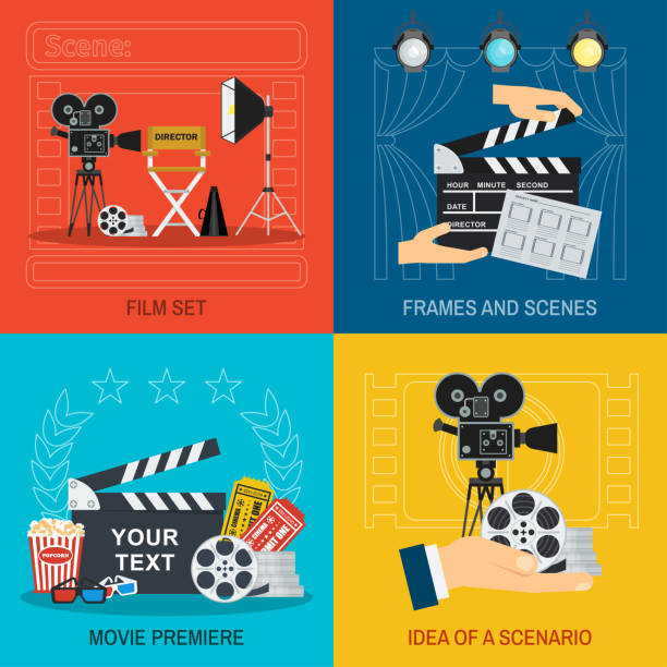 movie making and premiere concept vector art illustration