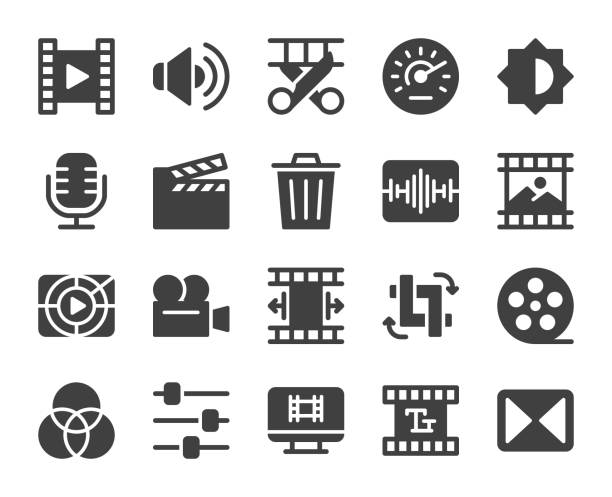 illustrazioni stock, clip art, cartoni animati e icone di tendenza di movie making and video editing - icons - pellicola