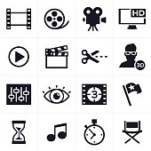 Movie making, film and video editing icon and symbol set.