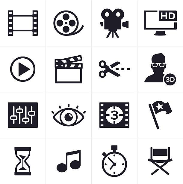 Film, Video und Bearbeitung Symbole – Vektorgrafik