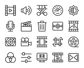 Movie Making and Video Editing Line Icons Vector EPS File.