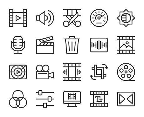 Movie Making and Video Editing - Line Icons