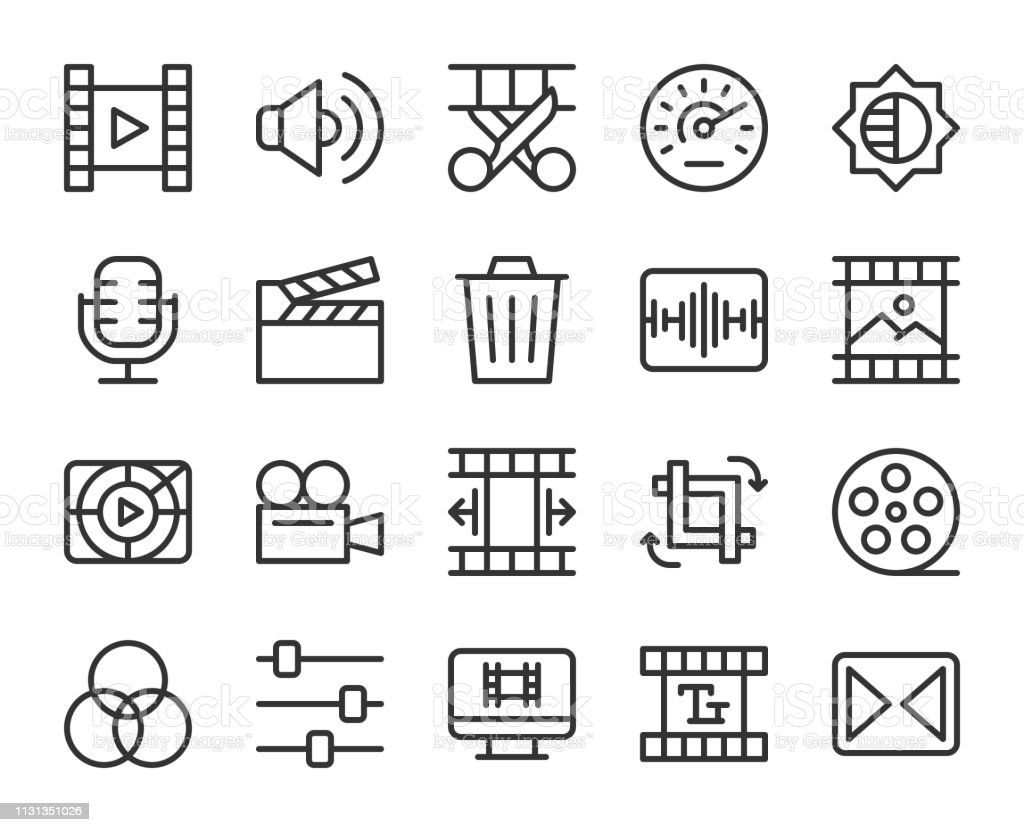 Movie Making and Video Editing - Line Icons vector art illustration