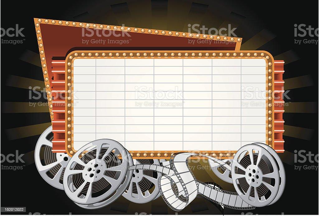 Movie marquee vector art illustration